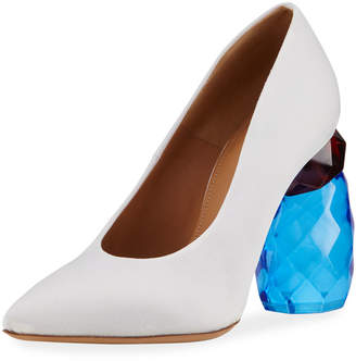 Dries Van Noten Resin-Heel Canvas Pumps
