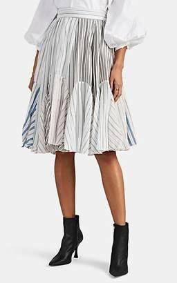 J.W.Anderson Women's Variegated-Stripe-Pattern Patchwork Skater Skirt - Pink