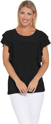 Women With Control Attitudes by Renee Como Jersey Flutter Sleeve Top