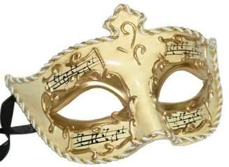 Medici Mardi Gras World Eye Music Notes Mardi Gras Mask Gold & Ivory Antique Halloween Prom Masquerade