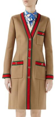 Gucci Wool Stripe Trim Coat