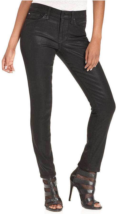 Else Jeans Skinny Jeans, Coated Black-Wash Jeans
