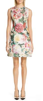 Dolce & Gabbana Floral Print Brocade Dress