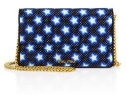 Miu MiuMiu Miu Star-Print Denim Chain Crossbody Bag