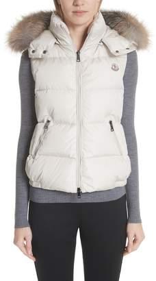 Moncler Gallinule Quilted Down Vest with Detachable Genuine Fox Fur Trim Hood