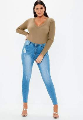 Missguided Plus Size Khaki Ultimate Plunge Knit Bodysuit