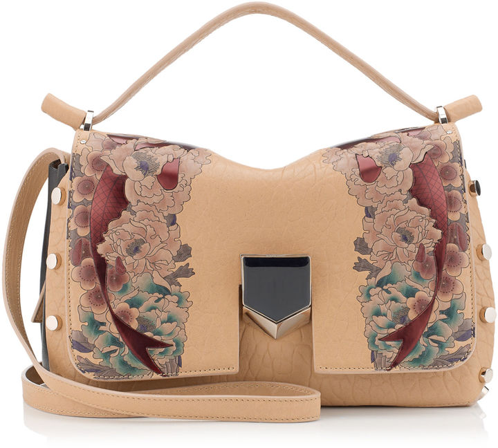 Jimmy Choo LOCKETT/S Nude and Multi Coloured Tattoo Printed Grainy Leather Handbag