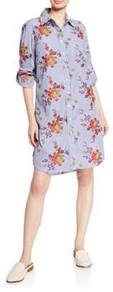Finley Alex Striped Autumn Floral-Printed Button-Down Long-Sleeve Shirtdress