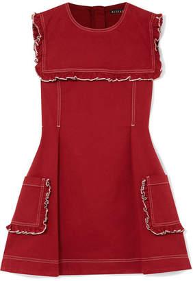 ALEXACHUNG Sailor Ruffled Stretch-denim Mini Dress
