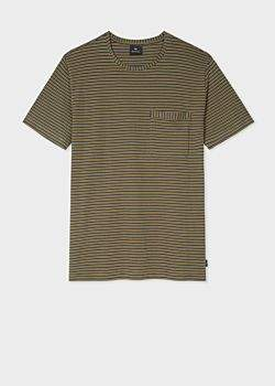 Paul Smith Men's Ochre Yellow Stripe Cotton Pocket T-Shirt
