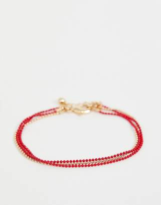 Asos DESIGN multirow bracelet with plaited thread and delicate ball chain in gold