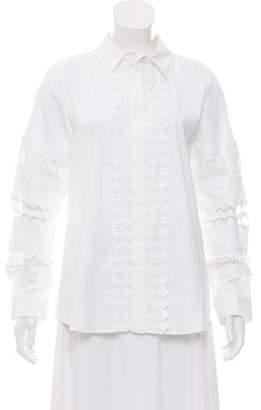 Oscar de la Renta Embroidered Button-Up Blouse w/ Tags