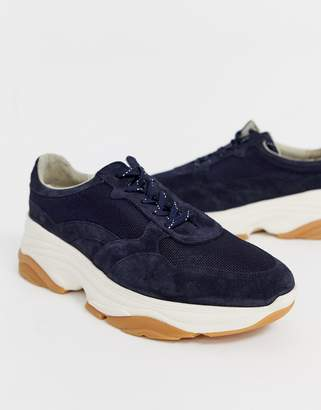 Asos suede sneakers in navy with chunky sole