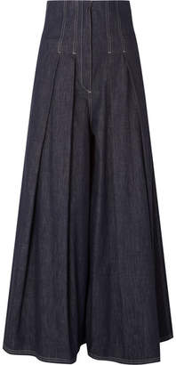 Brunello Cucinelli Pleated High-rise Wide-leg Jeans - Blue