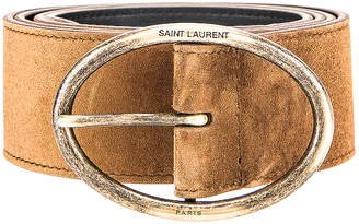 Saint Laurent Oval Buckle Belt in Land | FWRD