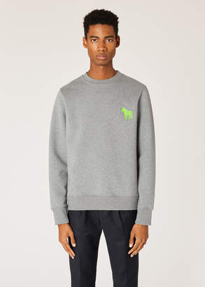 Paul Smith Men's Grey Marl Organic-Cotton Embroidered Zebra Sweatshirt