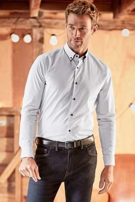Next Mens White Long Sleeve Double Collar Shirt