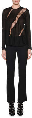 Giambattista Valli Long-Sleeve Round-Neck Lace-Insets Cashmere-Silk Sweater