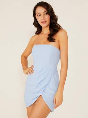 Shein Double Crazy Solid Asymmetrical Hem Tube Dress