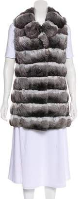 Carmen Marc Valvo Chinchilla Collared Vest
