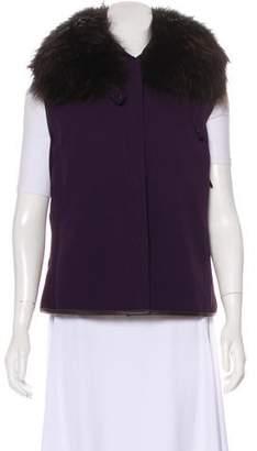 Prada Sport Fur-Trimmed Rib Knit Vest