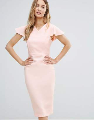 Vesper Midi Pencil Dress With Structured Shoulders $53 thestylecure.com