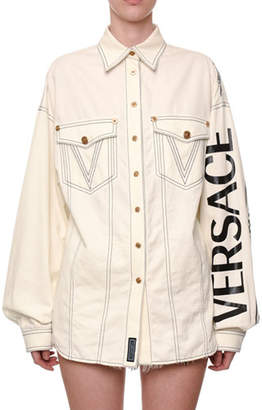 Versace Logo-Sleeve Oversized Denim Blouse