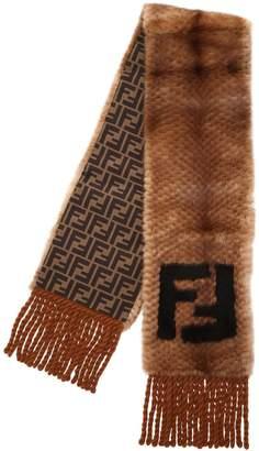 Fendi Logo Fur Scarf