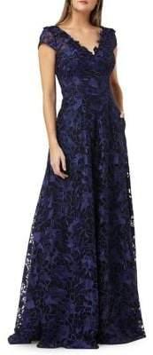 Carmen Marc Valvo Floral Lace Cap-Sleeve Ballgown