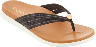 Vionic Leather Triple-Strap Thong Sandals - Catalina