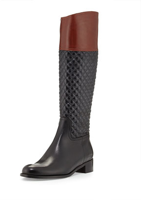 Sesto Meucci Kaitlin Quilted Leather Riding Boot, Black $375 thestylecure.com