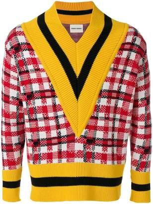 Henrik Vibskov checked Messy Match V-neck sweater