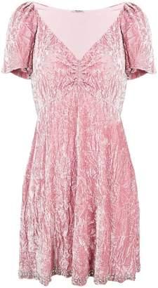 Miu Miu crushed velvet ruched day dress