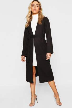 boohoo Petite Collarless Belted Wool Look Coat