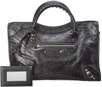 Balenciaga Classic City Logo Strap Medium Leather Shoulder Bag