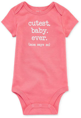 Okie Dokie Cutest Baby Ever Short Sleeve Slogan Bodysuit - Baby NB-24M