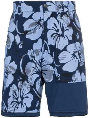 Liam Hodges patch detail floral print cotton cargo shorts