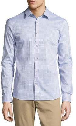 Michael Kors Printed Slim-Fit Stretch Shirt, Blue