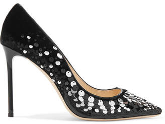Jimmy Choo Romy 100 Embellished Velvet Pumps - Black
