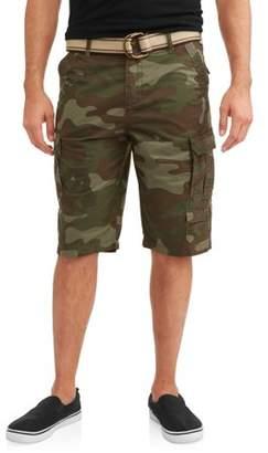 LAZER Men's Belted Multi Pocket Twill Stacked Cargo Shorts