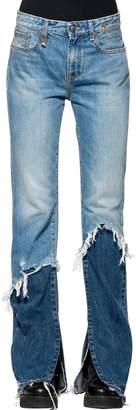 R 13 Patchwork Raw Cut Flared Denim Jeans