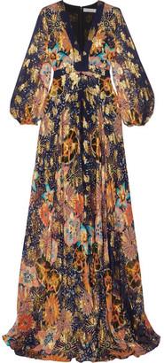 Chloé - Floral-print Metallic Fil Coupé Silk-gauze Maxi Dress - Navy $3,950 thestylecure.com
