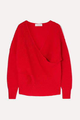 Victoria Victoria Beckham Victoria, Victoria Beckham - Oversized Draped Ribbed Wool Sweater - Red