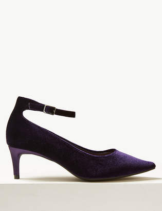 M&S Collection Wide Fit Kitten Heel Ankle Strap Court Shoes
