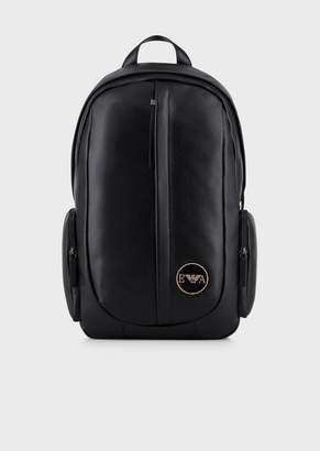 Emporio Armani Tumbled Leather Backpack With Logo Patch
