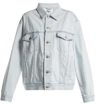 Balenciaga Like A Man Logo Embossed Denim Jacket - Womens - Light Blue