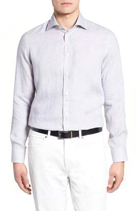 Luciano Barbera Trim Fit Solid Linen Dress Shirt
