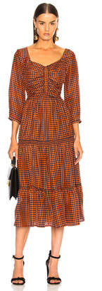Sea Ethno Pop 3/4 Sleeve Ruched Midi Dress in Orange Check | FWRD