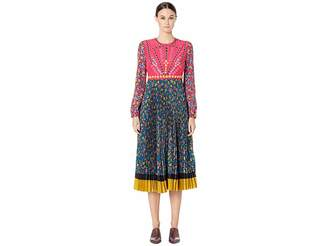 RED Valentino Ramage Roses Print Crepe De Chine and Crepe De Chine Dress