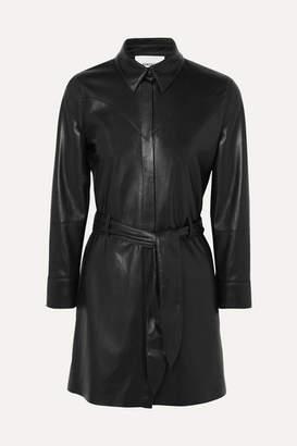 Nanushka Gisele Belted Faux Leather Mini Dress - Black